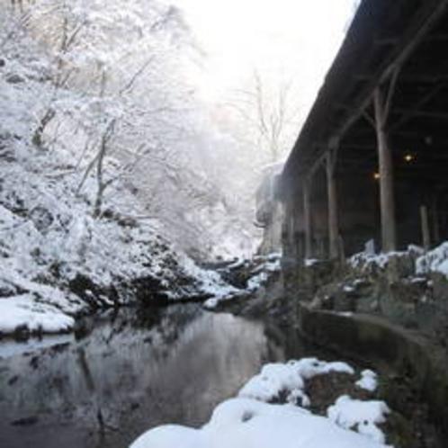 天然岩風呂外観(冬)