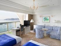 【ソファーセット】広々46㎡のお部屋、目の前に広がる海を眺めてごゆっくりお寛ぎ下さい♪