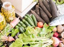 地元岡山県産にこだわった新鮮な食材たち
