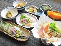 【夕食スタンダード一例】根室の美味しい海の幸が盛りだくさん♪