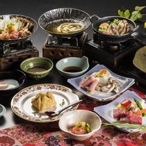 メイン料理を【蘭】【竹】【梅】から選べるチョイスプランの夕食。他、山形の素材を使った自慢の料理が満載