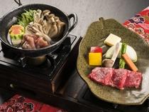 選べるメイン料理【蘭】/国産牛陶板ステーキ&東北地鶏の塩麹鍋