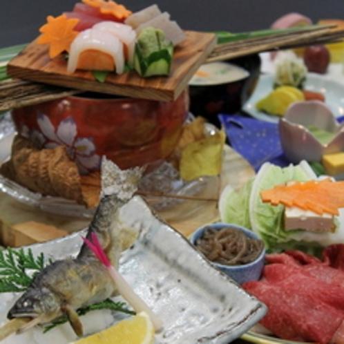 地菜と鮎の塩焼き会席