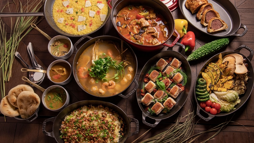 【 ISHIGAKI BOLD KITCHEN】夕食イメージ:各国の名物料理を独自スタイルでご用意