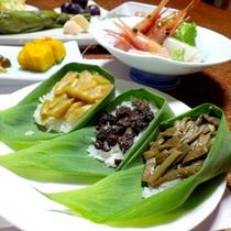 *【夕食一例】地元名産のコシヒカリに合うメニューの数々
