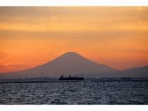東京湾を行き交う船と富士山