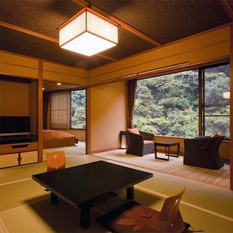 10畳×2間 半露天風呂付 渓流眺望特別室