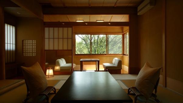 【禁煙】松岳山から続く庭園を望む【2階客室】和室10帖