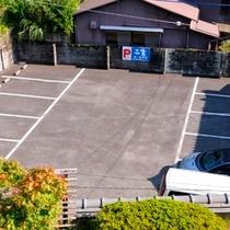 旅館の目の前が駐車場