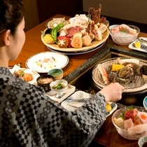 選べる!あわび、伊勢海老、たばら蟹、ステーキ