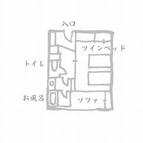 モダンツイン(セミダブル2台)【禁煙ルーム】