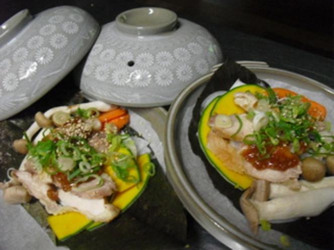 自家製味噌の朴葉焼き