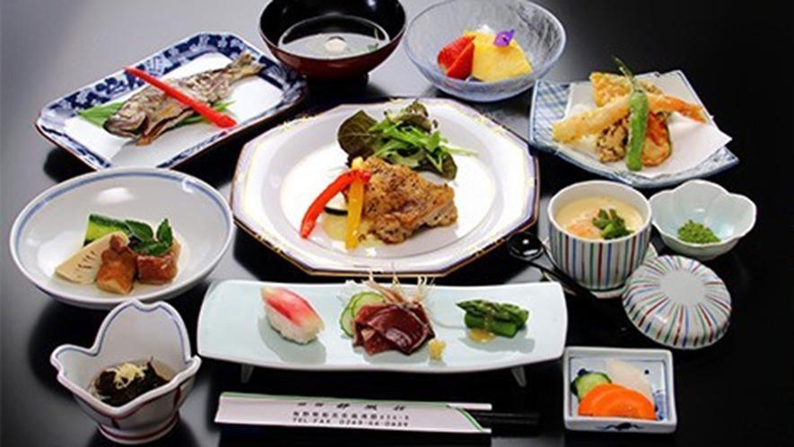 ・地産地消の新鮮な食材をたっぷり使った夕食(一例)