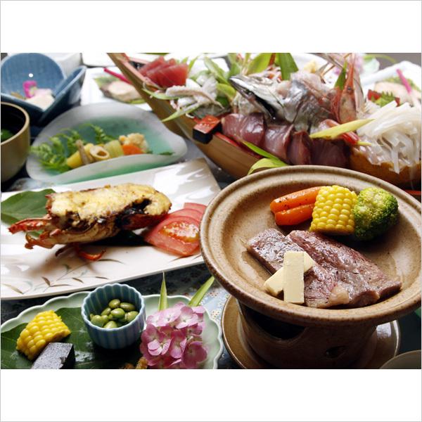伊豆牛伊勢海老の-山海-のお料理イメージです。