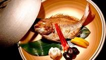 *夕食・追加一品料理/天然の真鯛を使ったお祝鯛。お祝いの会食に華を添えます。