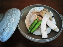 帆立貝の陶板焼き