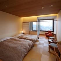 【展望風呂付ツイン】最上階!松本平の夜景一望①
