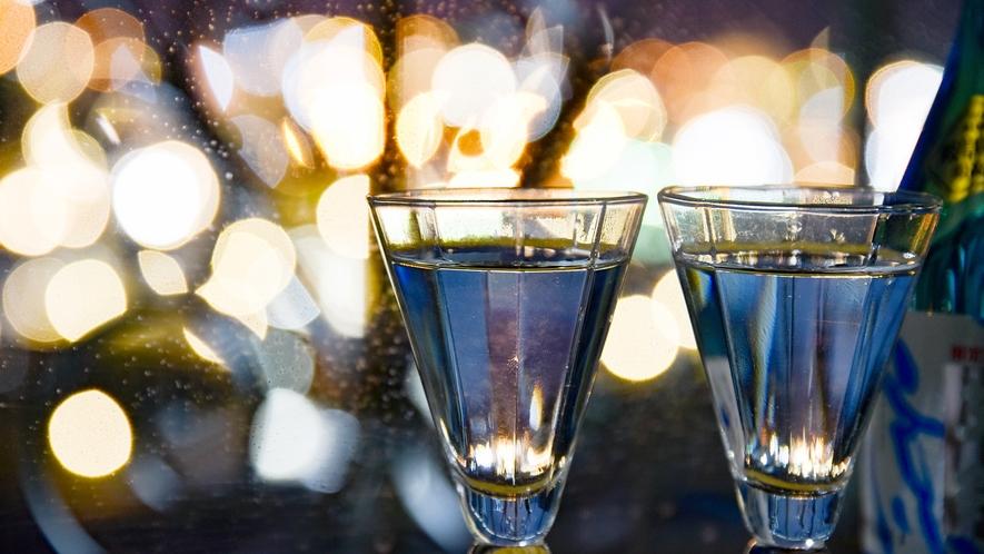 *⇒楽しみ 夜は夜景を見ながら地酒に酔いしれる