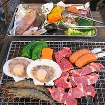 *ご夕食一例【バーベキュー】牛肉や魚介類、新鮮な野菜などをお楽しみください♪
