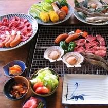 *ご夕食一例【炉端焼】牛肉や魚介類、新鮮な野菜などお楽しみください♪