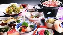 ■【ご夕食一例】県内産の食材や季節の山菜をふんだんに使用した、身体に優しい郷土料理です。