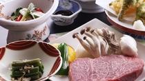■【ご夕食一例】絶品!尾花沢牛は鉄板で焼いてご堪能あれ!