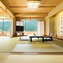 【和室】全室74平米以上、鬼怒川沿いのお部屋。