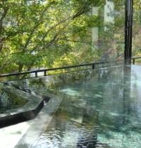 【大浴場】ガラス張りの内風呂から見える深緑にも心癒されます。