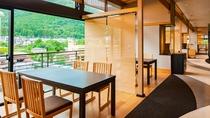 【お食事処-桜薫楽ogura-】美しい景色が一望できる渓谷沿いのお食事処