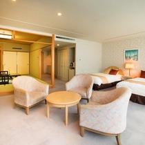 【和洋室】和室8畳+ツインベットルームの74平米の広々としたお部屋。