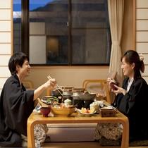 【お部屋食イメージ】北海道の食材をいかした旬のお料理をご堪能ください。