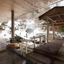 【庭園露天風呂】降り積もる雪見の露天風呂