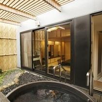 【露天風呂付和室】心身ともにほぐれる開放感あふれる、のびやかな空間です。