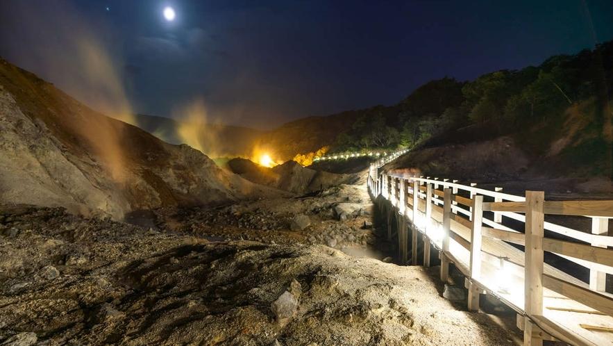 ◆登別地獄谷/日和山の噴火活動によりできた爆裂火口跡。当館から約15分程です。(イメージ)