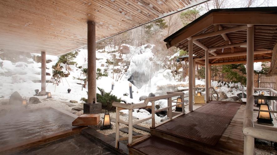 ◆庭園露天風呂 檜風呂/冬(一例)
