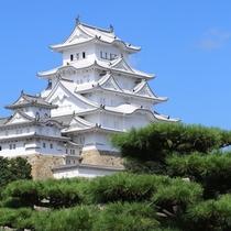 【姫路城】徒歩25分。別名「白鷺城」ともよばれる美しいお城です。