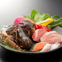 【鉄板焼・銀杏】書写コース一例。二種類のお肉と海鮮が味わえる大満足コース。
