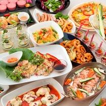 【ブッフェレストラン・セリーナ】ディナー例。季節ごとにフェアを開催しております。