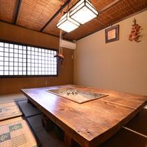 ◎お食事処一例/古きよき日本の食卓「囲炉裏」を囲んでお食事をお楽しみください。