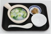 朝食の一例 青梗菜(チンゲンサイ)お粥