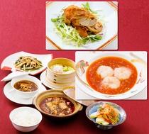 【1名様向けご夕食】信州食材を組み込んだ中華セット エビチリもしくは山賊焼をお選び下さい。