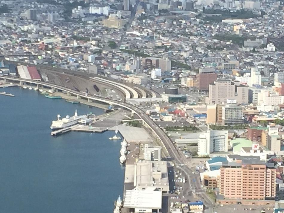 函館市街の風景とルートイングランティア函館駅前