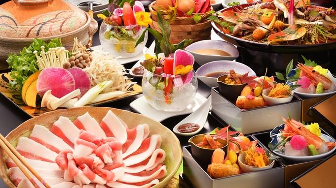 """★人気No1★【当館名物""""猪のハリハリ鍋"""" -竹-】新鮮な猪肉と福島の地野菜の旨味たっぷり鍋に舌鼓♪"""