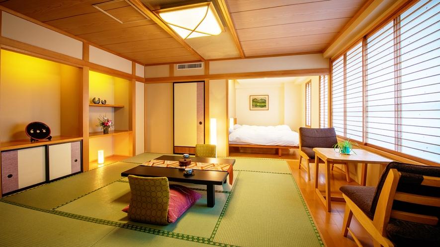 ■【和洋室 10畳+ツイン】■当館唯一のベッド付き客室。和室部分にはお布団のご用意も可能。