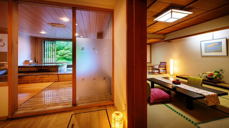 ■<渓谷側>【展望風呂付客室】■客室一例。誰にも邪魔されず温泉を愉しみたい方に人気の客室です。