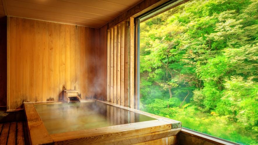 ■<渓谷側>【展望風呂付客室】■客室一例。自家源泉掛け流しの贅沢な客室風呂。