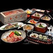 川どこ限定会席料理 星あかり*会津名産の会津地鶏の炭火焼と旬食材を盛り込んだ会席料理(一例)