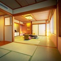 ■【町側】二間和室(10畳+6畳)■グループやご家族におすすめの二間続きの和室です。