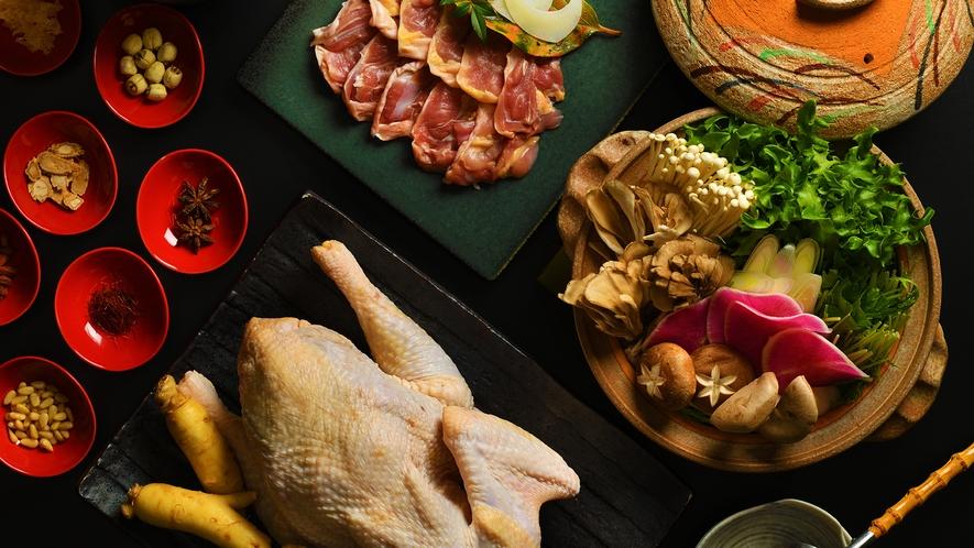 ■会津地鶏の薬膳鍋■好評につき復活!会津地鶏、フカヒレ、地野菜、薬膳。美味しく健康になれる人気鍋です