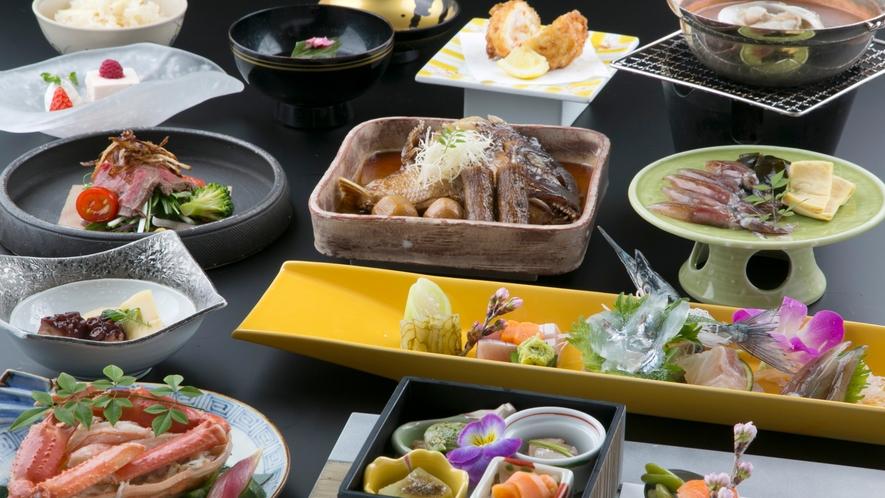 鯛の兜煮がメインの会席一例
